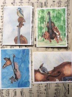 4 pack Handmade Music Cards
