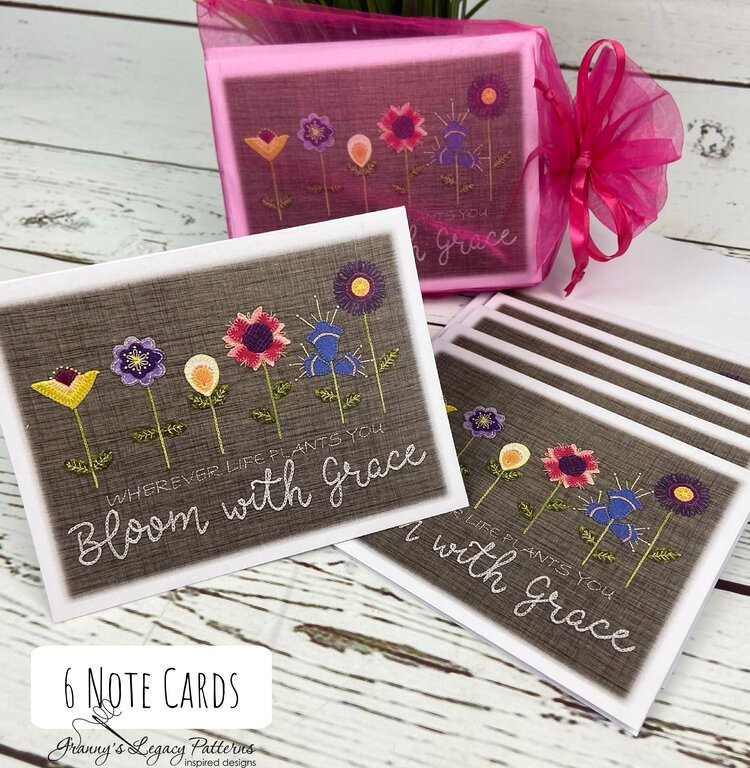 Note Cards: BLOOM WITH GRACE- 6 Pack