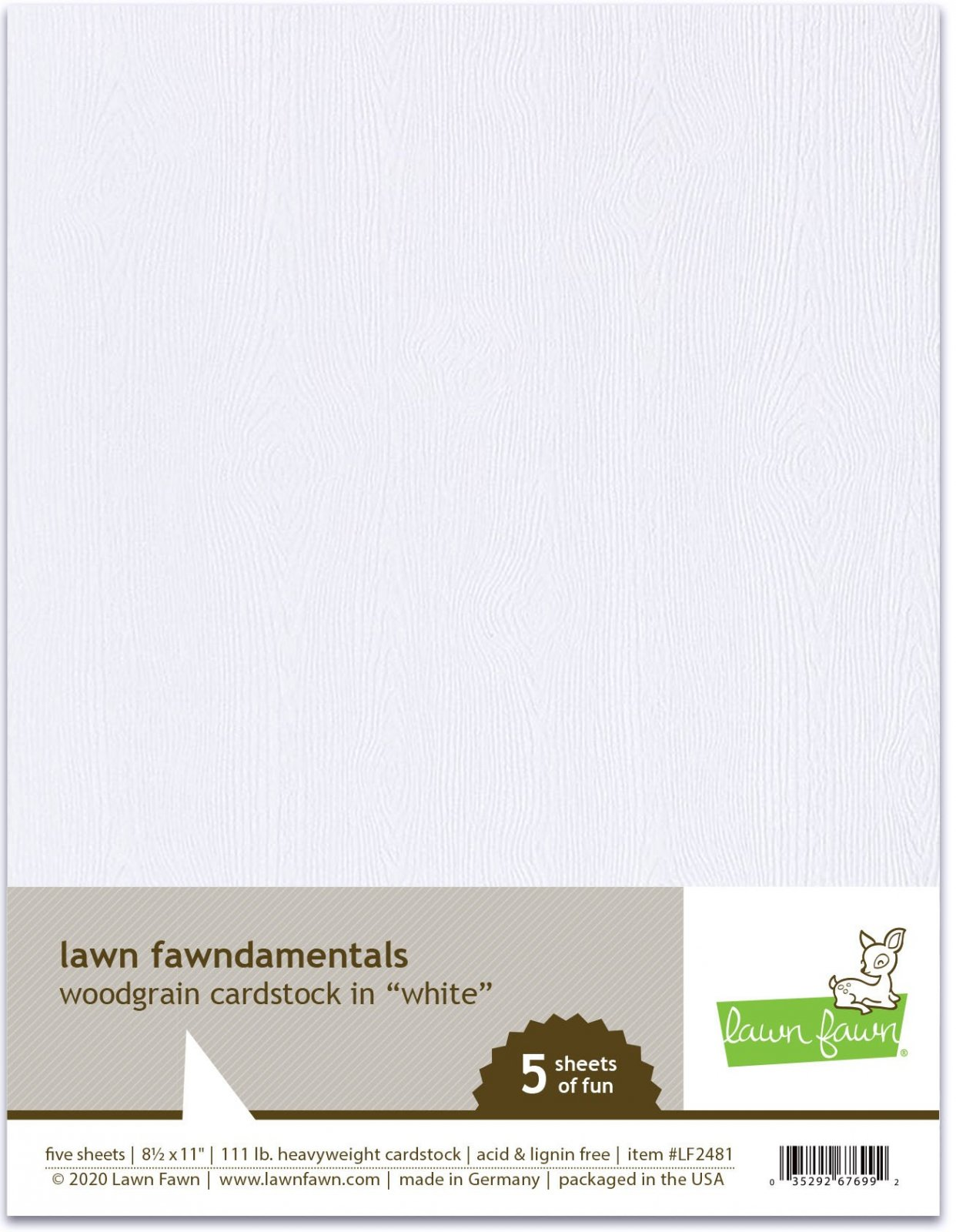Woodgrain Cardstock - White
