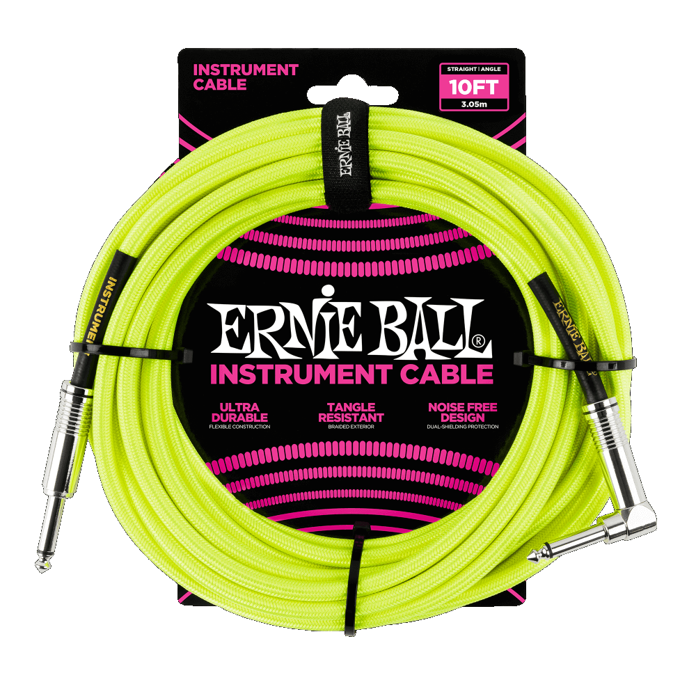 Ernie Ball 10' Braided Neon Yellow Right and Straight