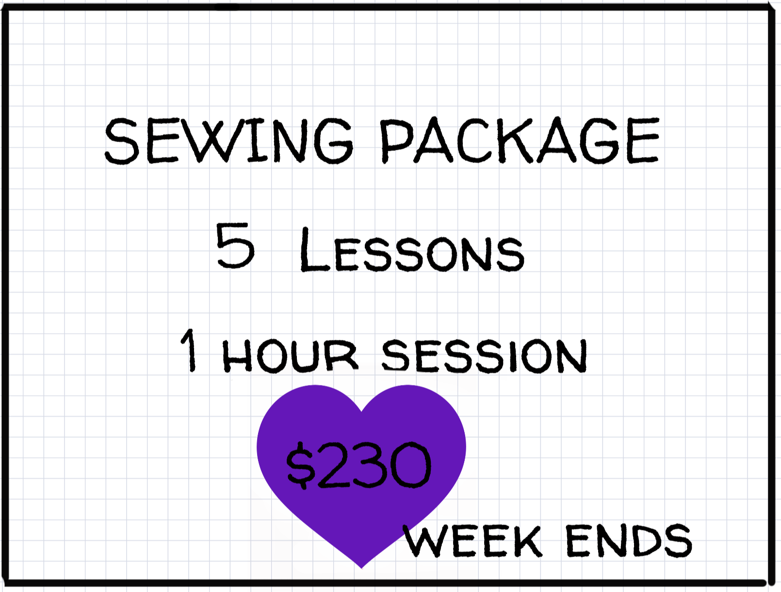 1 Hour Private Lesson Week ends : Package of 5 -