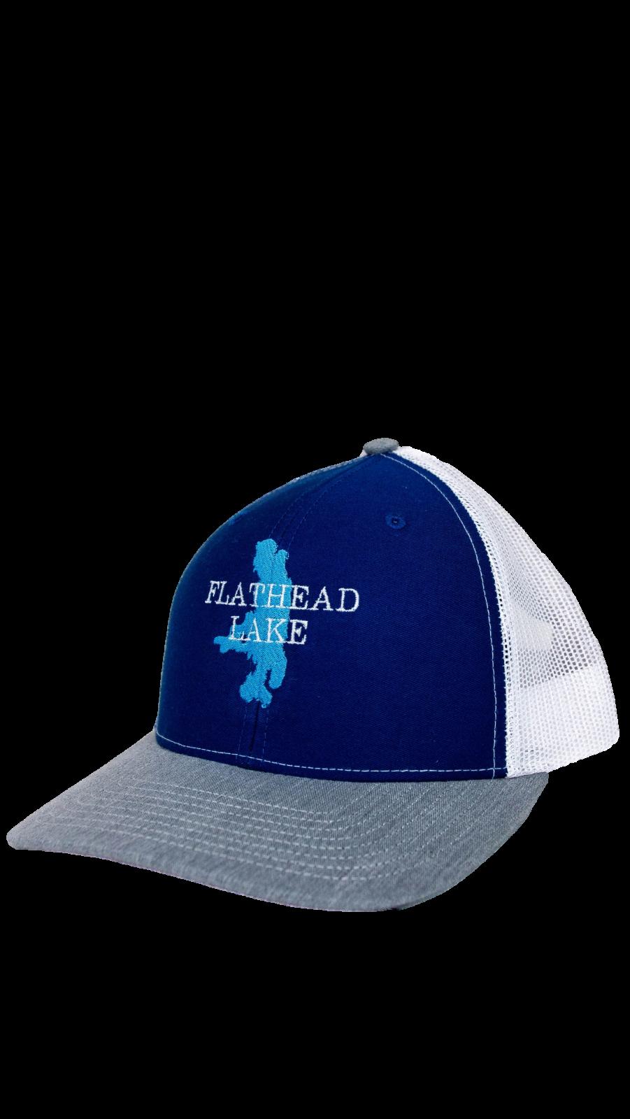 Flathead Lake Grey / Blue / White Trucker Hat
