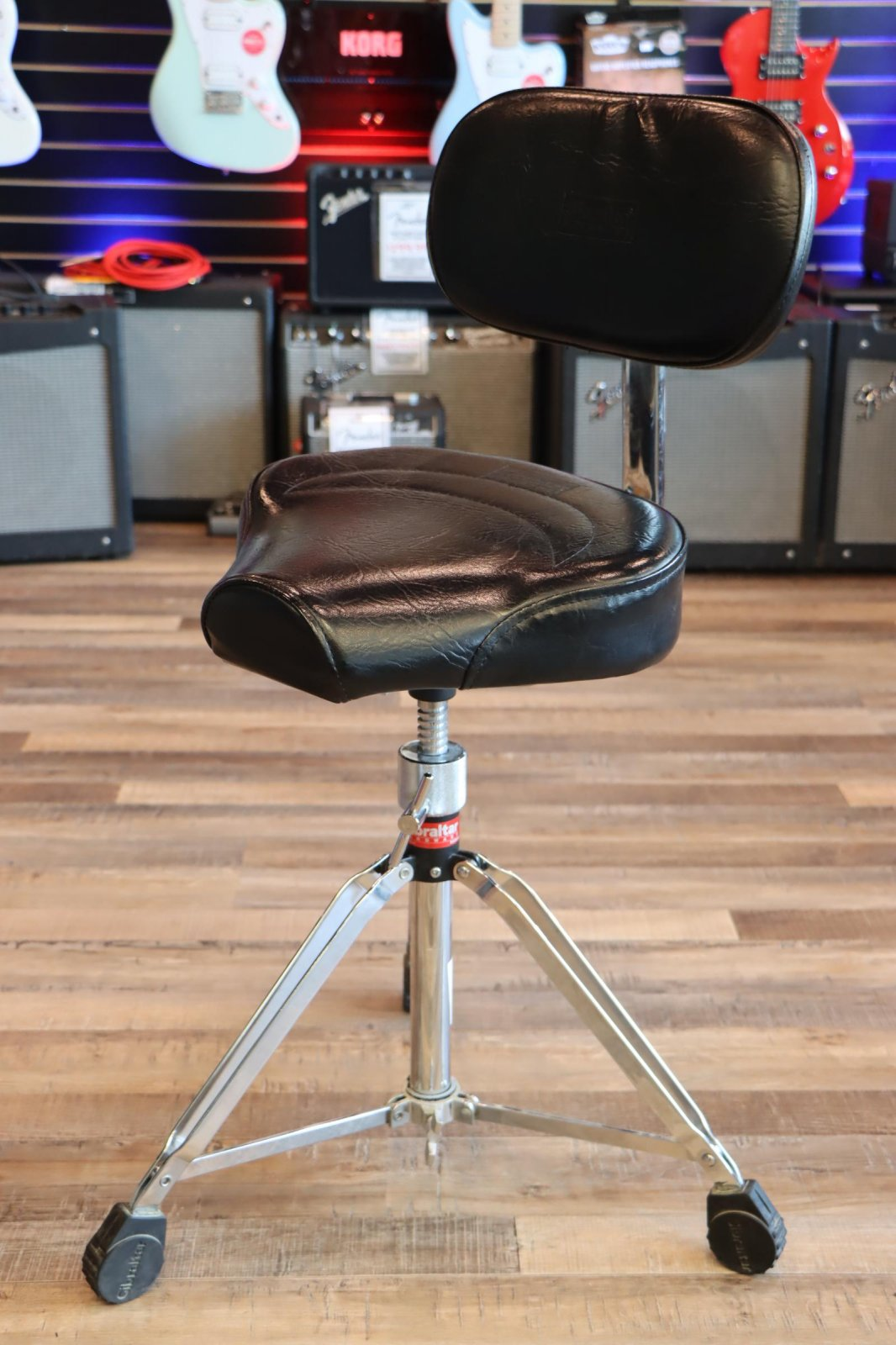 USED Gibraltar Heavy-Duty Bicycle Seat Drum Throne w/Backrest