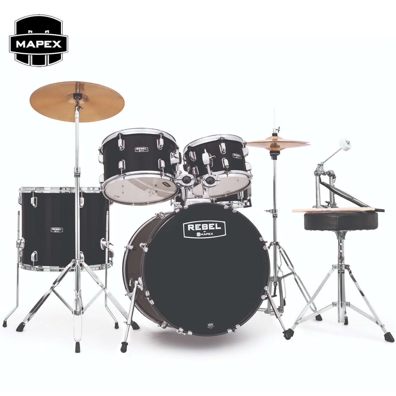Mapex Rebel 5-Piece Drum Kit 20 Bass Drum with Hardware and Cymbals- Black