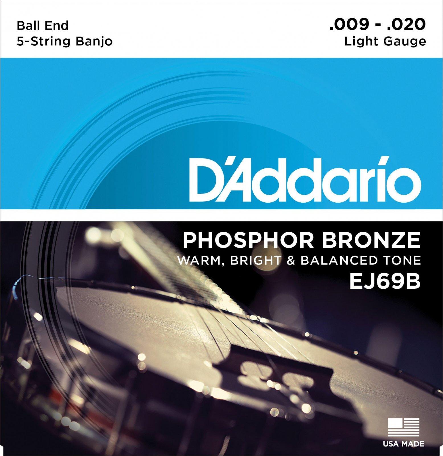 D'Addario Banjo Phosphor Bronze Light Ball End Set