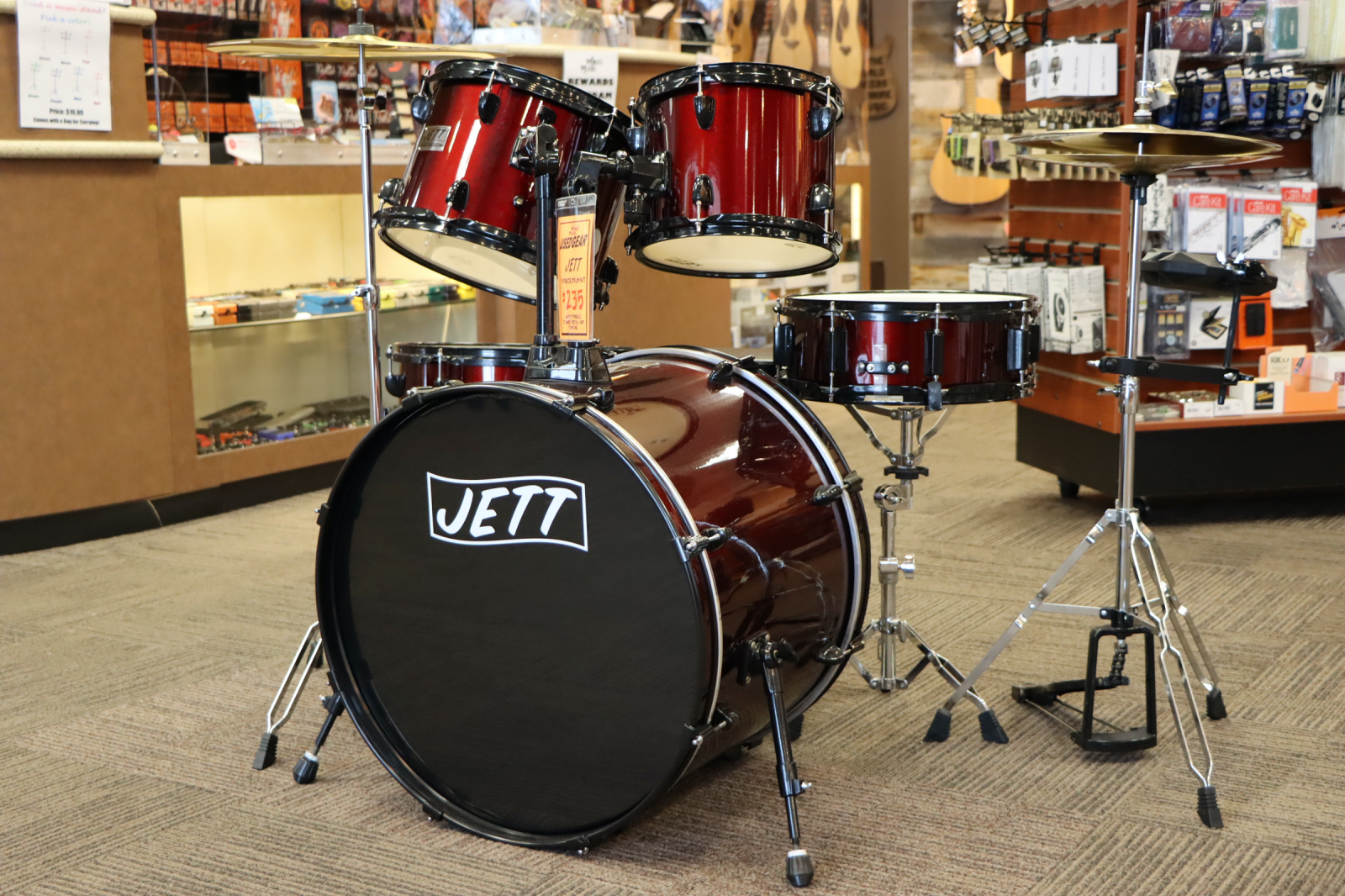 USED Jett 5 Piece Drum Kit with Cymbals, Stands, Pedal, and Throne