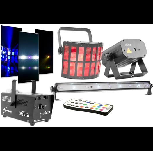 Chauvet DJ JAM Pack Gold - Derby, laser, fog machine, and a UV wash strobe light set