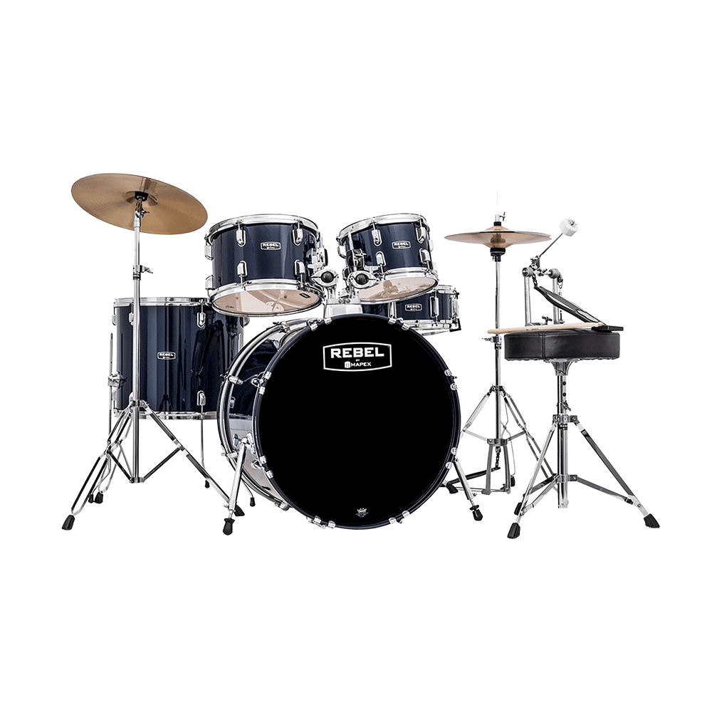 Mapex Rebel 5-Piece Drum Kit 20 Bass Drum with Hardware and Cymbals- Royal Blue