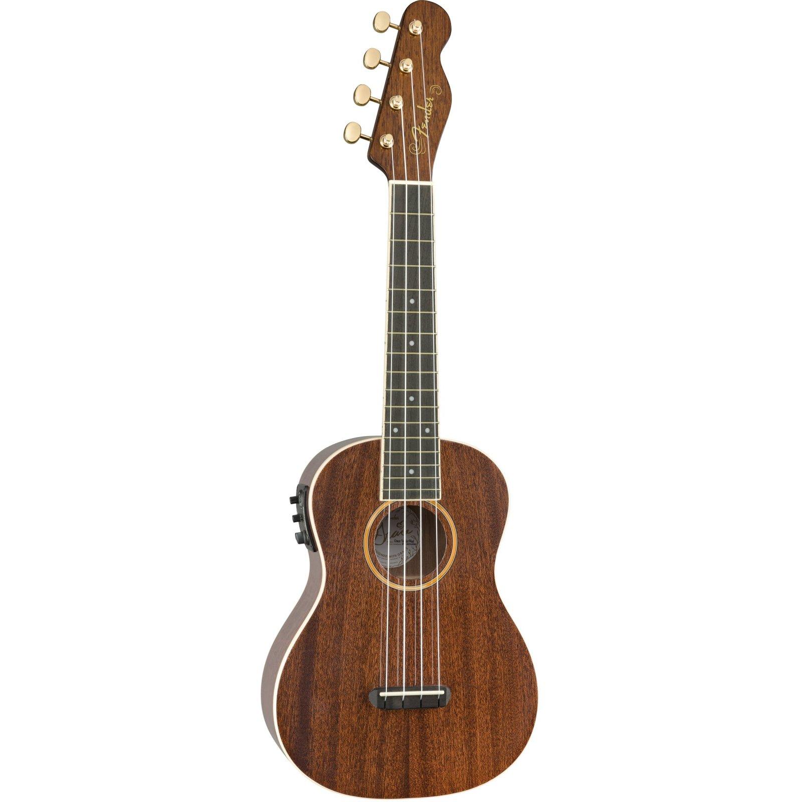 Fender Grace Vanderwaal Signature Acoustic/Electric Uke, Walnut, Concert Size