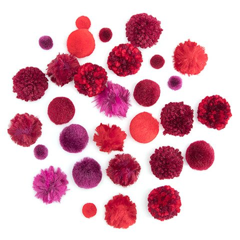 Red Pom Poms : 0.5 to 1 inch, 30 pack