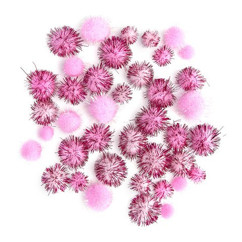 Pink Tinsel Pom Poms : 0.5 to 1 inch, 40 pack