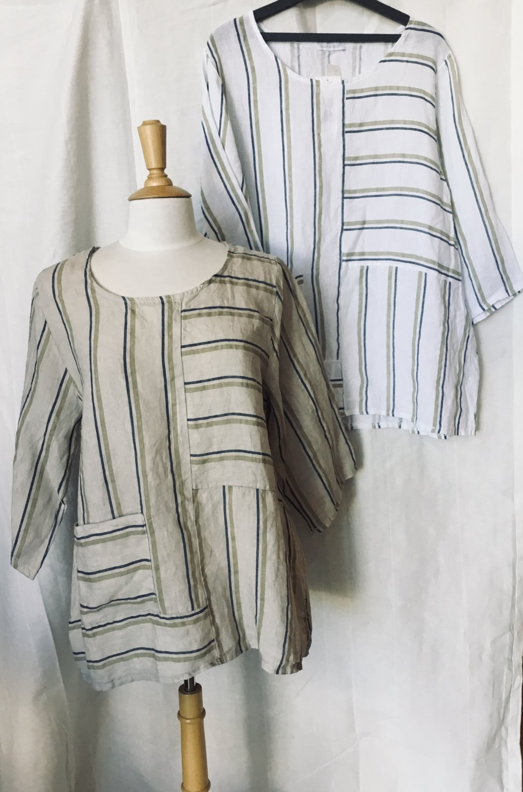 SAGA Stripe Linen O/S Top