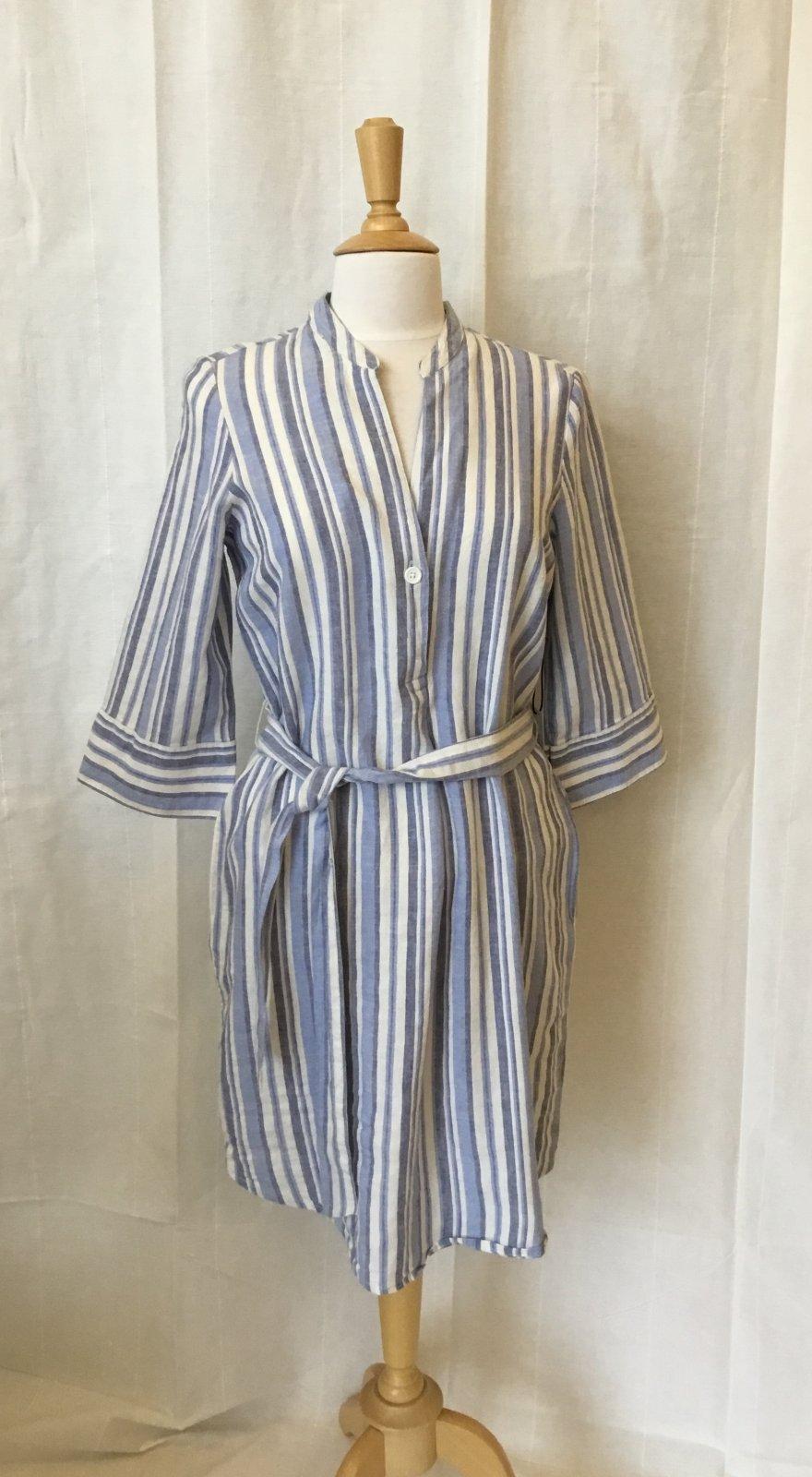 Dex Off white/sky blue stripe dress