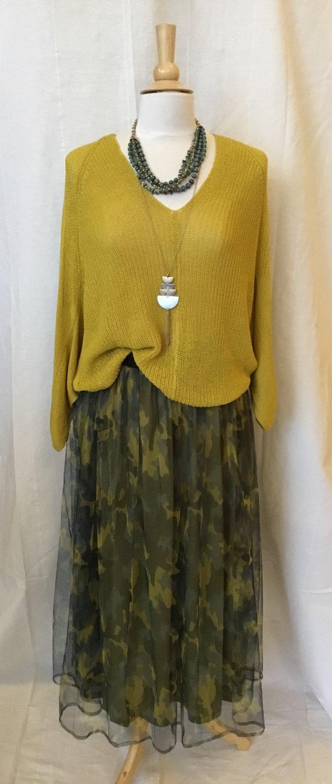 Mystree Camo Mesh Maxi Skirt