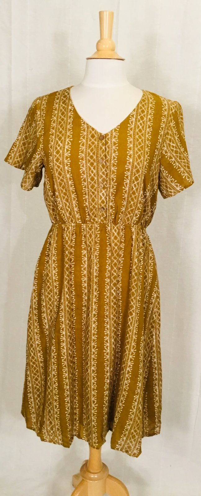 Mika Rose Mustard Print Dress w/buttons