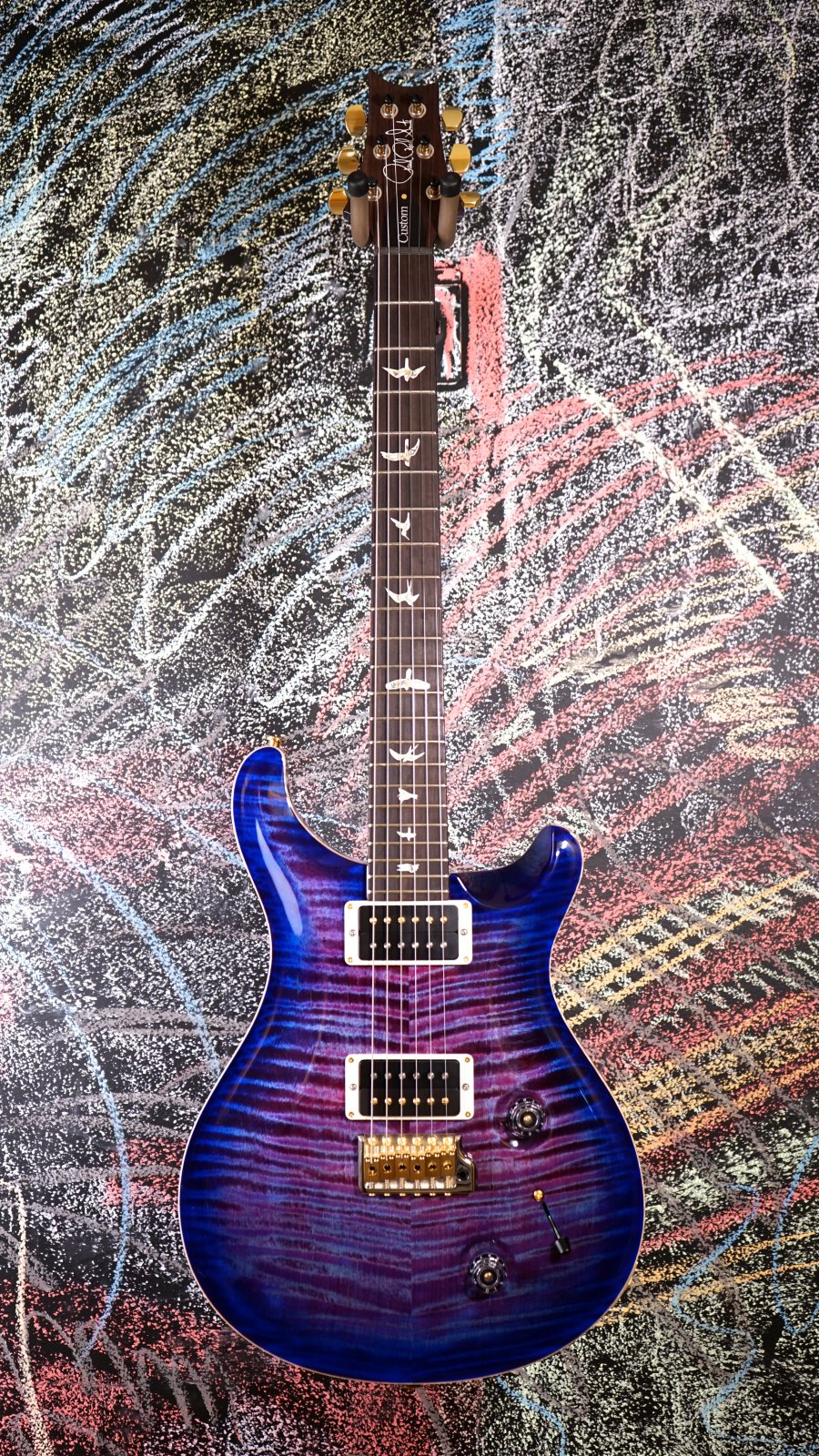 PRS Custom 22 Violet Blue Burst Hybrid Hardware 10-top