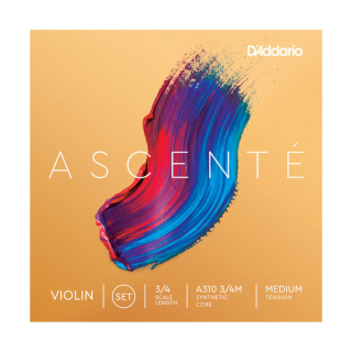 D'Addario Ascente Violin String Set, 3/4 Scale, Medium Tension