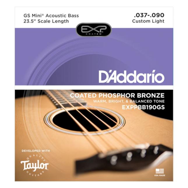 D'Addario EXPPBB190GS Phosphor Bronze Coated Acoustic Bass Strings, Taylor GS Mi...