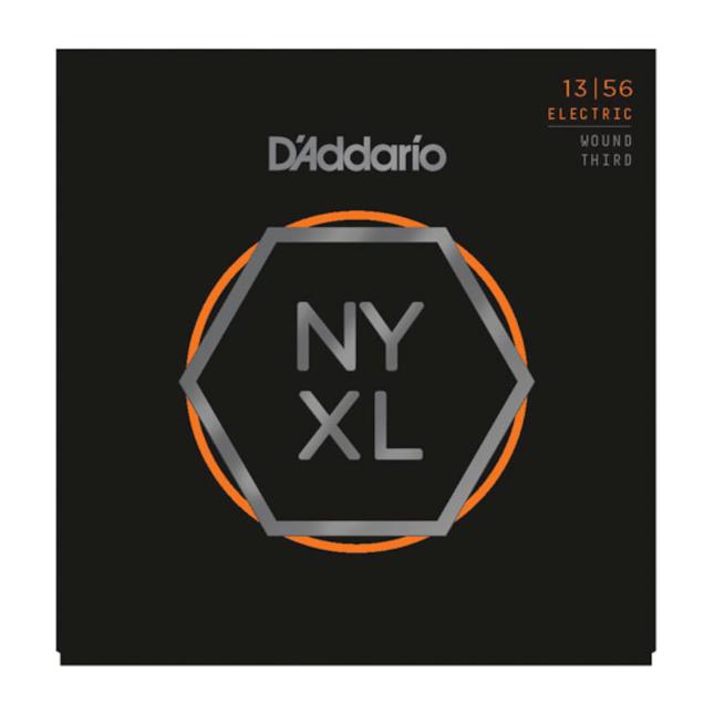 D'Addario NYXL1356W Nickel Wound Electric Guitar Strings, Medium Wound 3rd, 13-5...