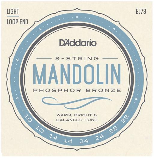 D'Addario EJ73 Mandolin Strings, Phosphor Bronze Light, 10-38
