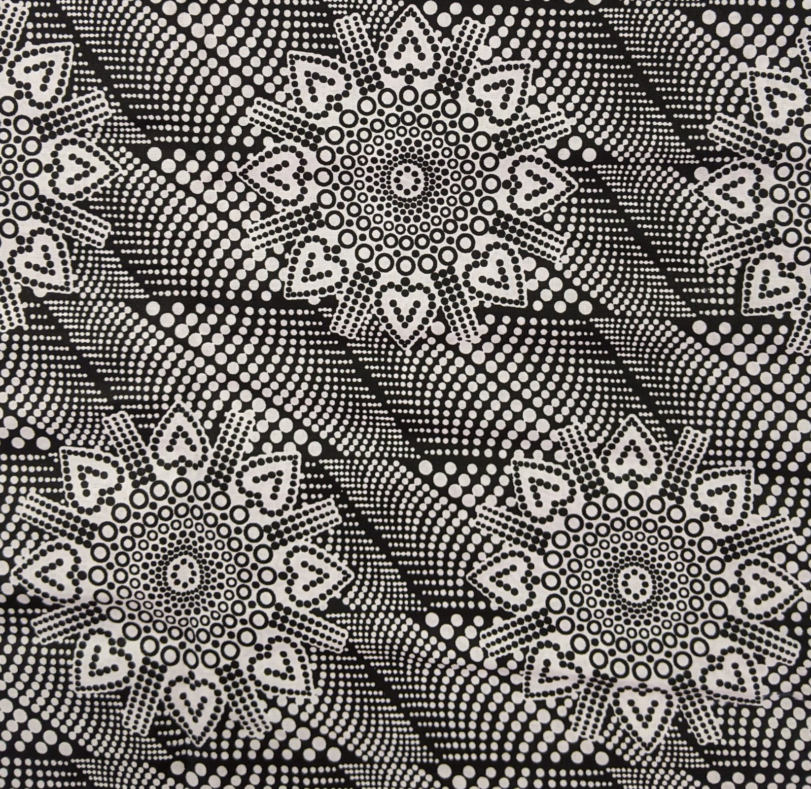 African Waxed cotton black & white print from Ghana