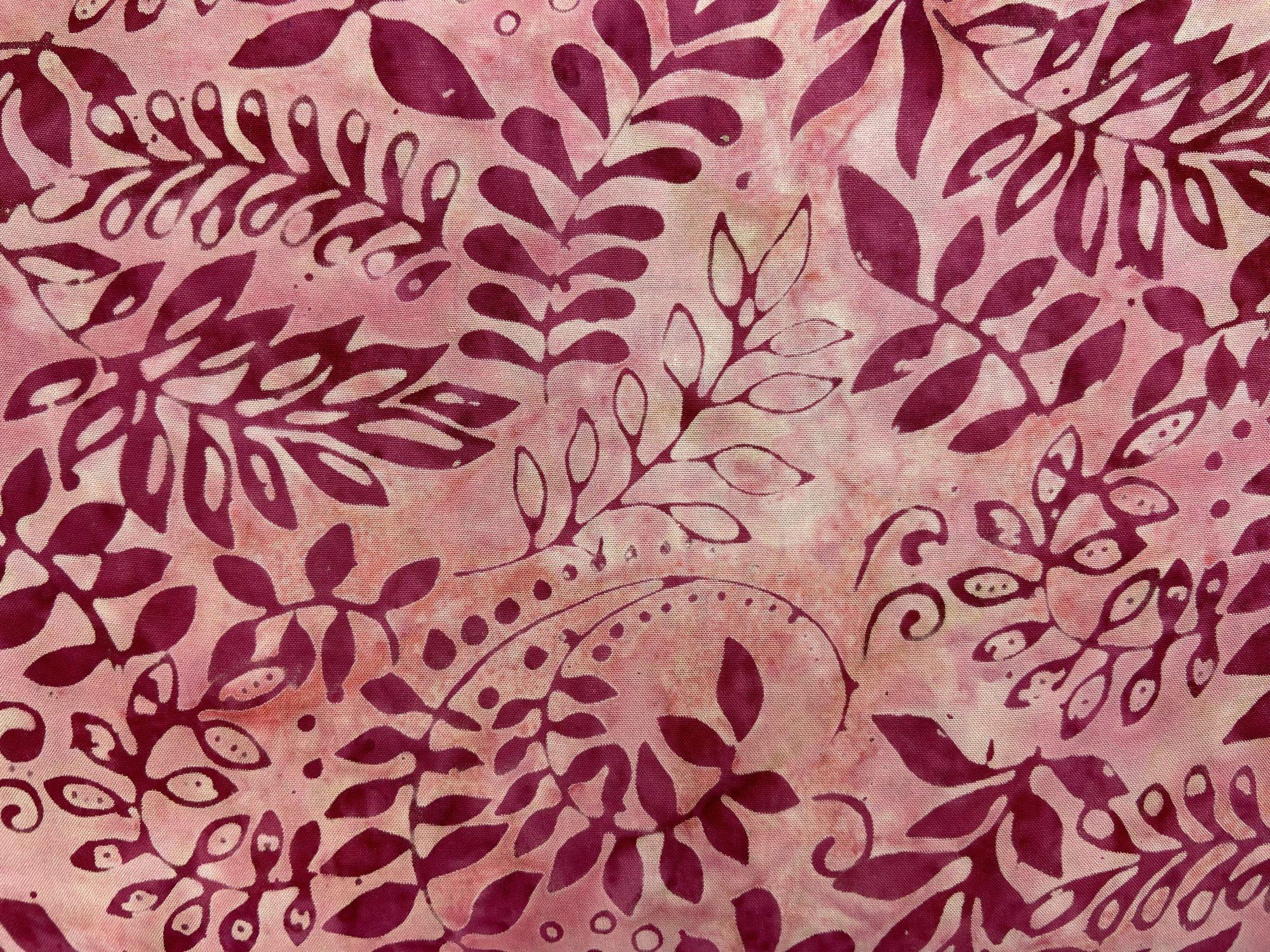 Indonesian Rayon Batik Pink Leaves on Pink