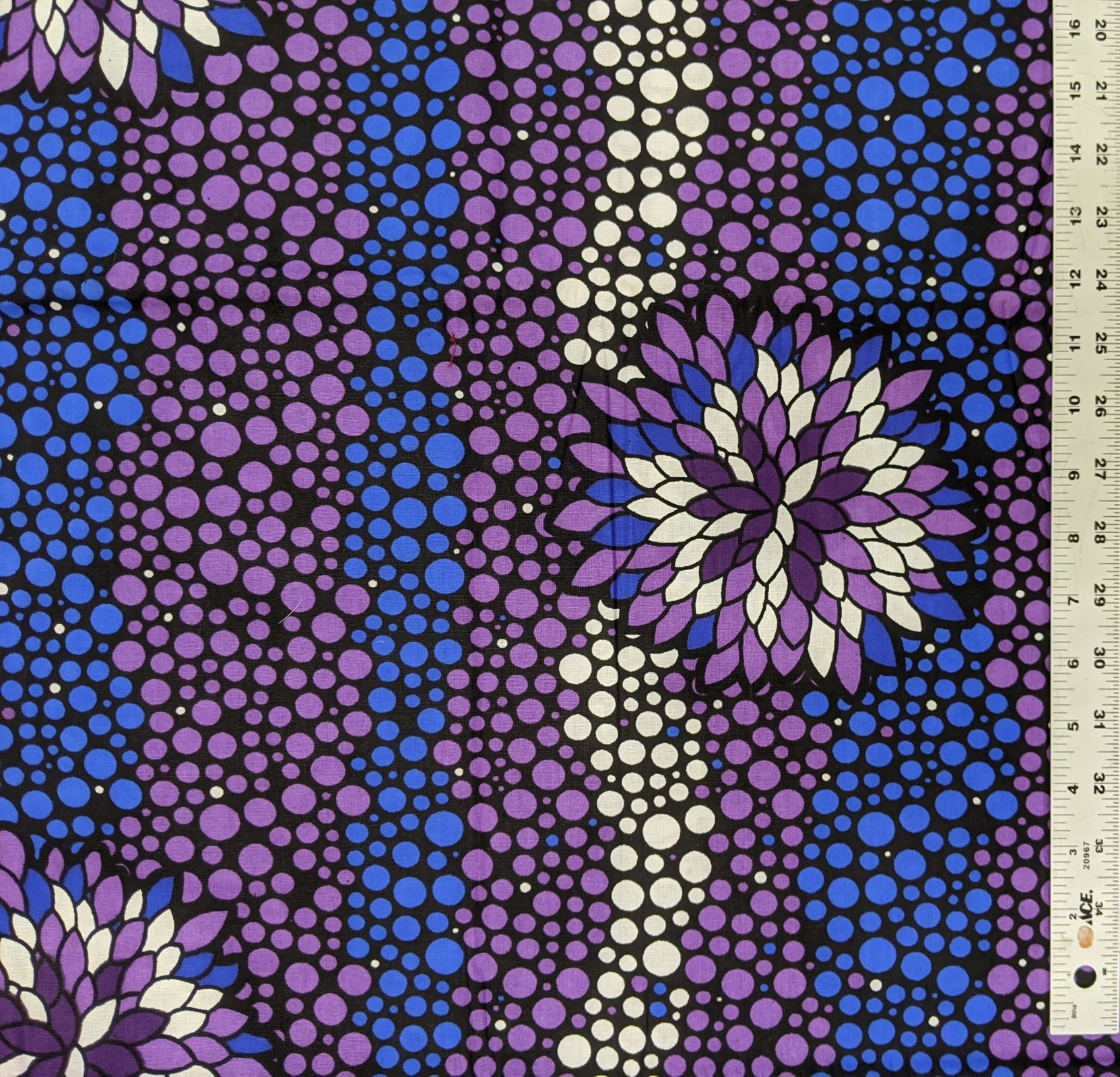 African Waxed Cotton from Ghana- royal, purple, and white print