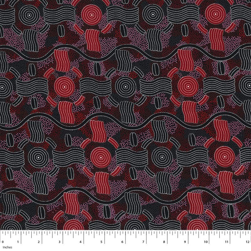 M&S Textiles Rain Dreaming Red