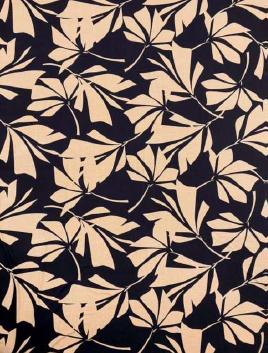 EB Italian Rayon Knit Black and Tan Leaf