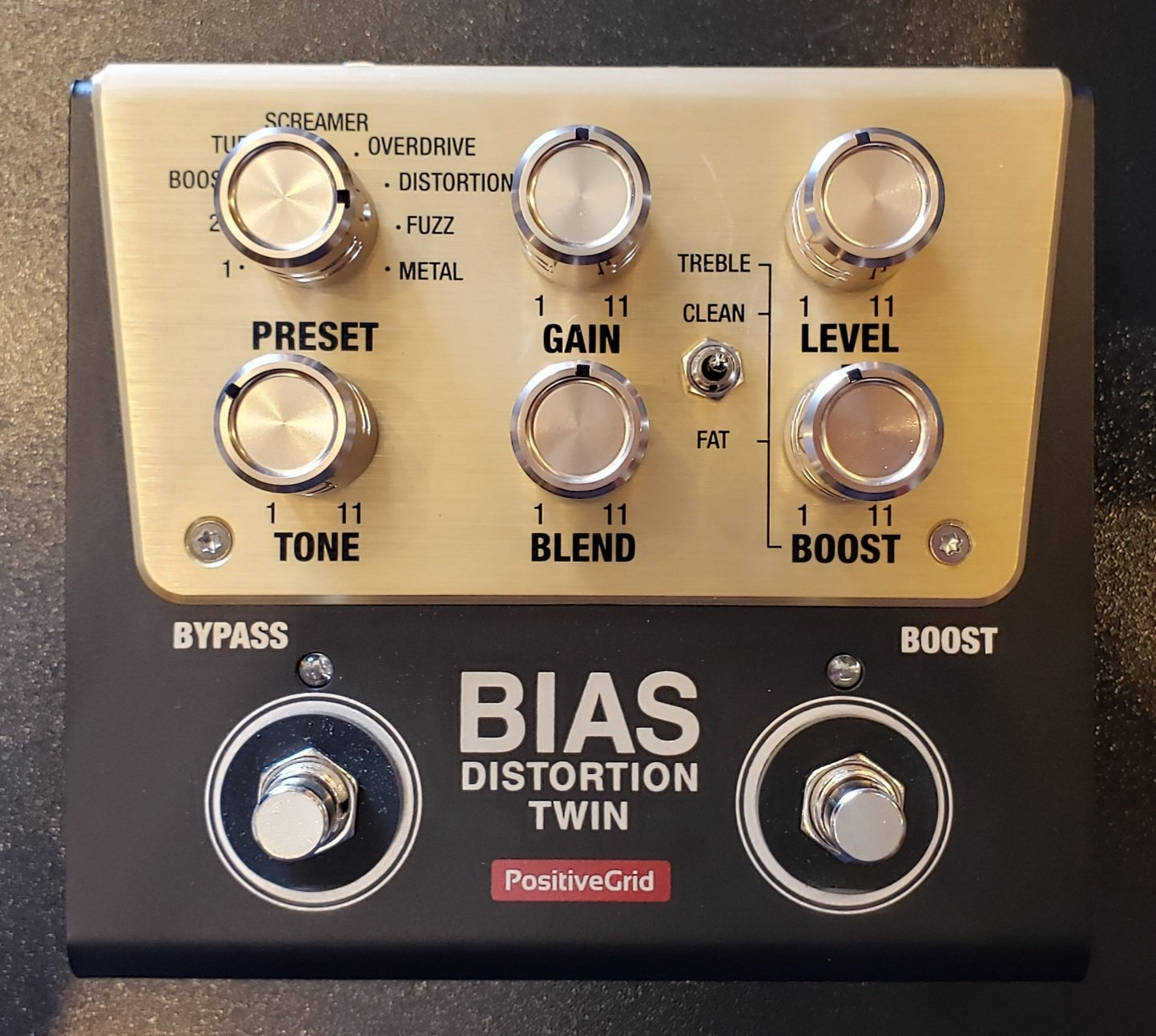 POSITIVE GRID BIAS DISTORTION TWIN PEDAL WITH BOX AND POWER SUPPLY