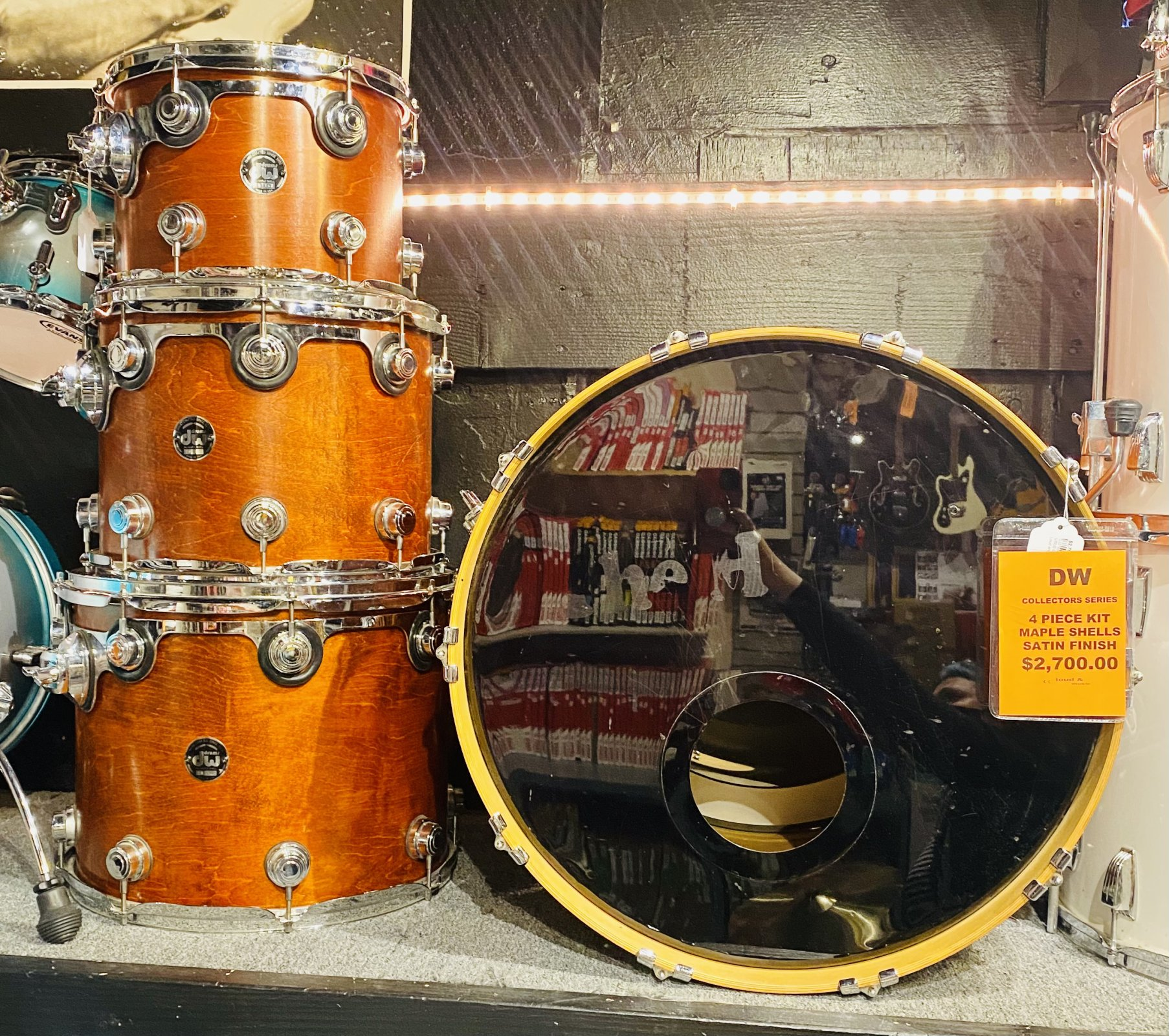USED DW COLLECTORS SERIES DRUM KIT, 4-PIECE, MAPLE SHELLS, SATIN FINISH