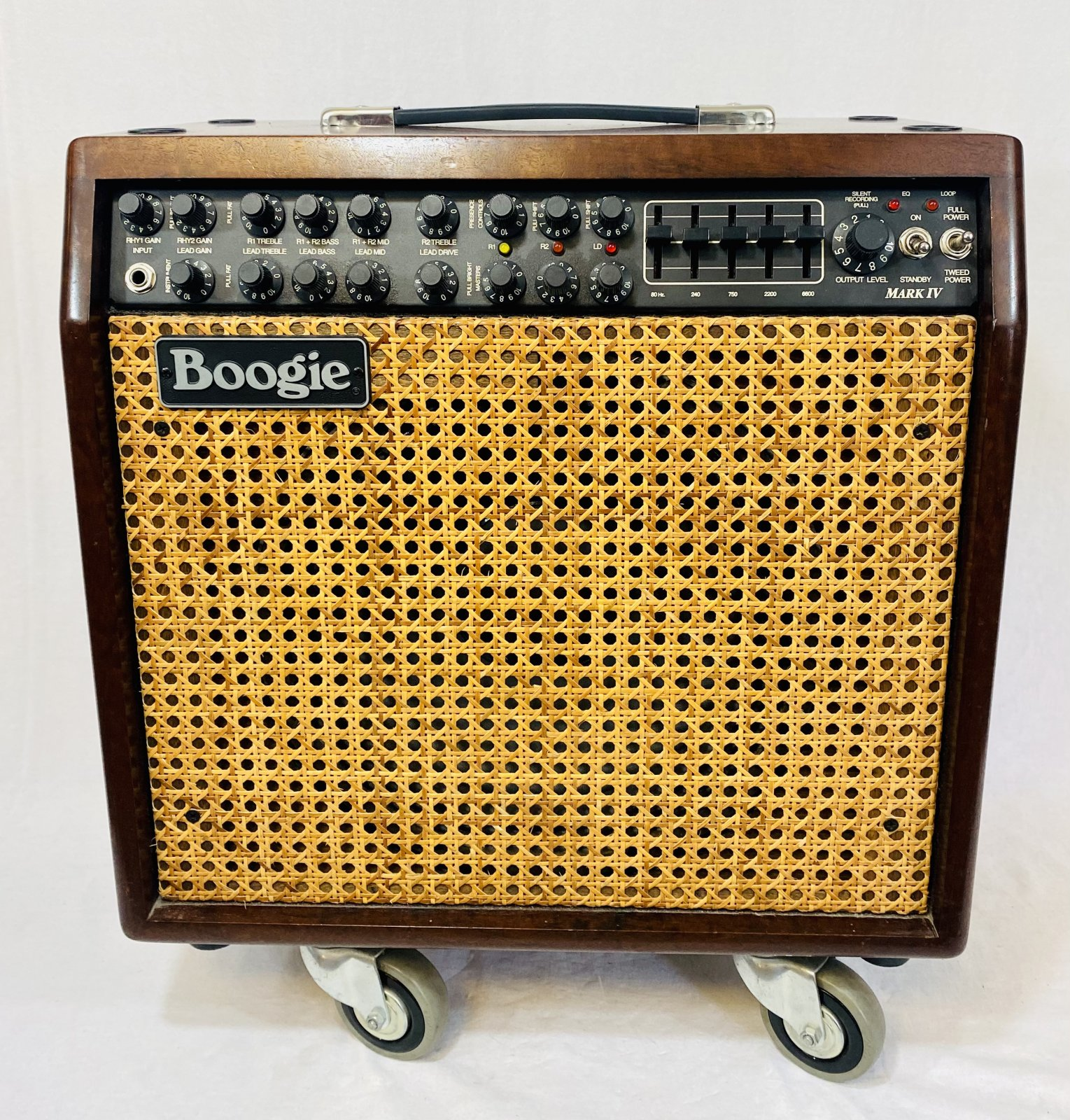 MESA BOOGIE MARK IV 1X12 COMBO HARDWOOD ENCLOSURE/WICKER GRILLE FOOTSWITCH AND MANUAL