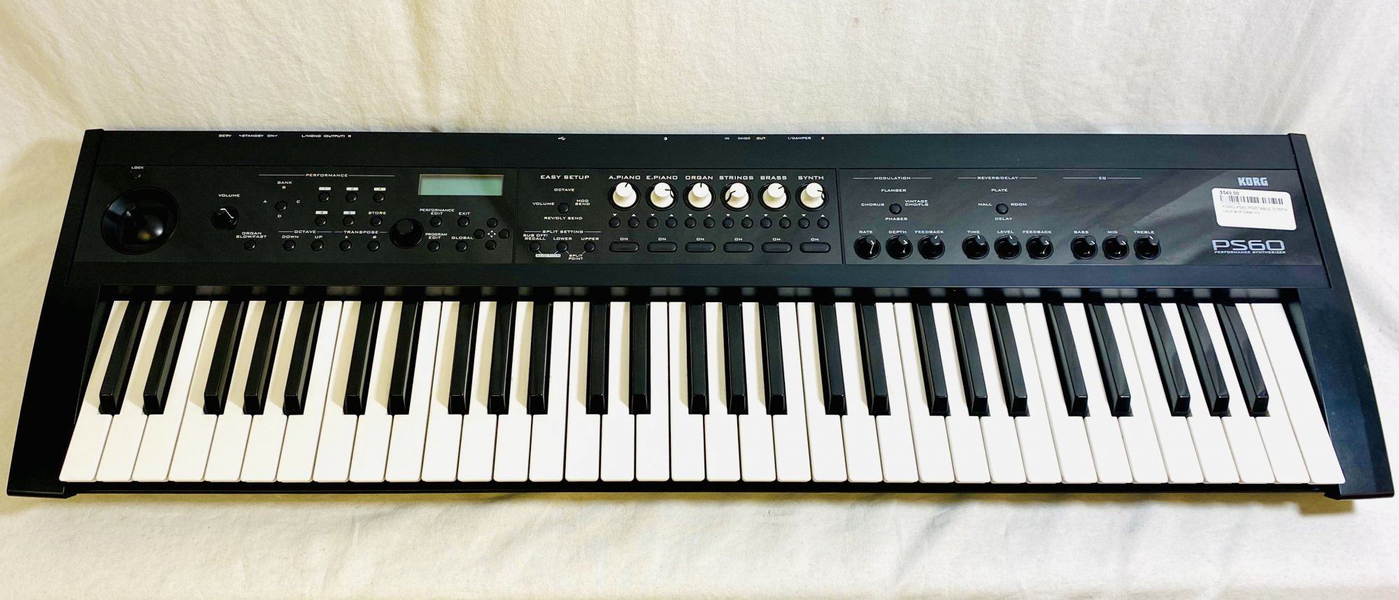 KORG PS60 PORTABLE SYNTH, POWER SUPPLY, MANUAL