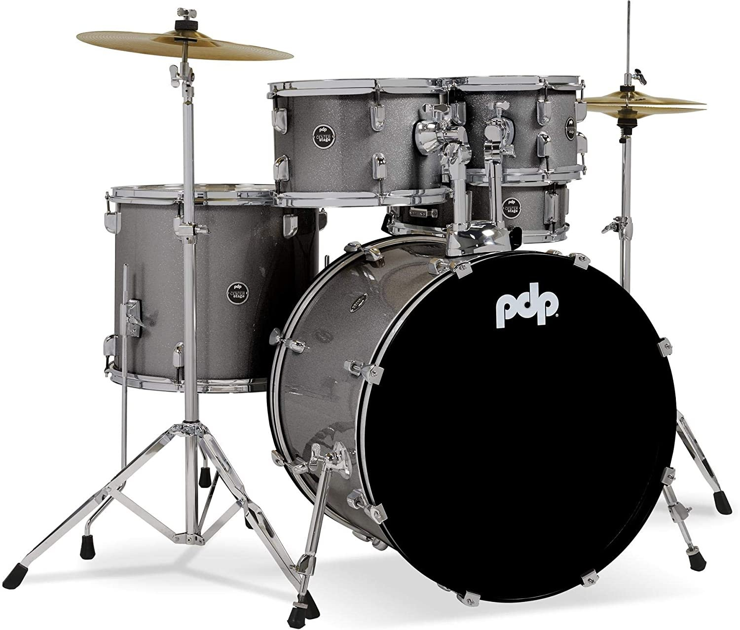 PDP CENTER STAGE 5-PIECE DRUM KIT W CYMBALS & HARDWARE, SILVER SPARKLE