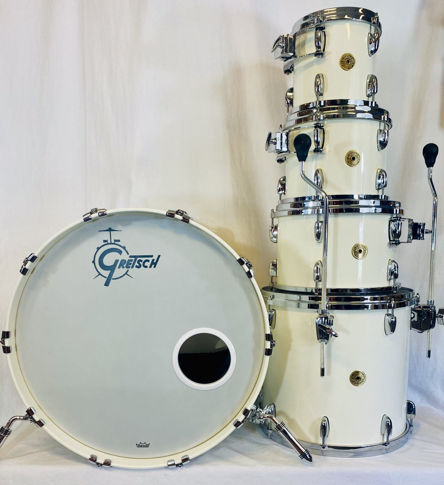 GRETSCH USA DRUM KIT, 5-PEICES, PIANO LACQUER WHITE