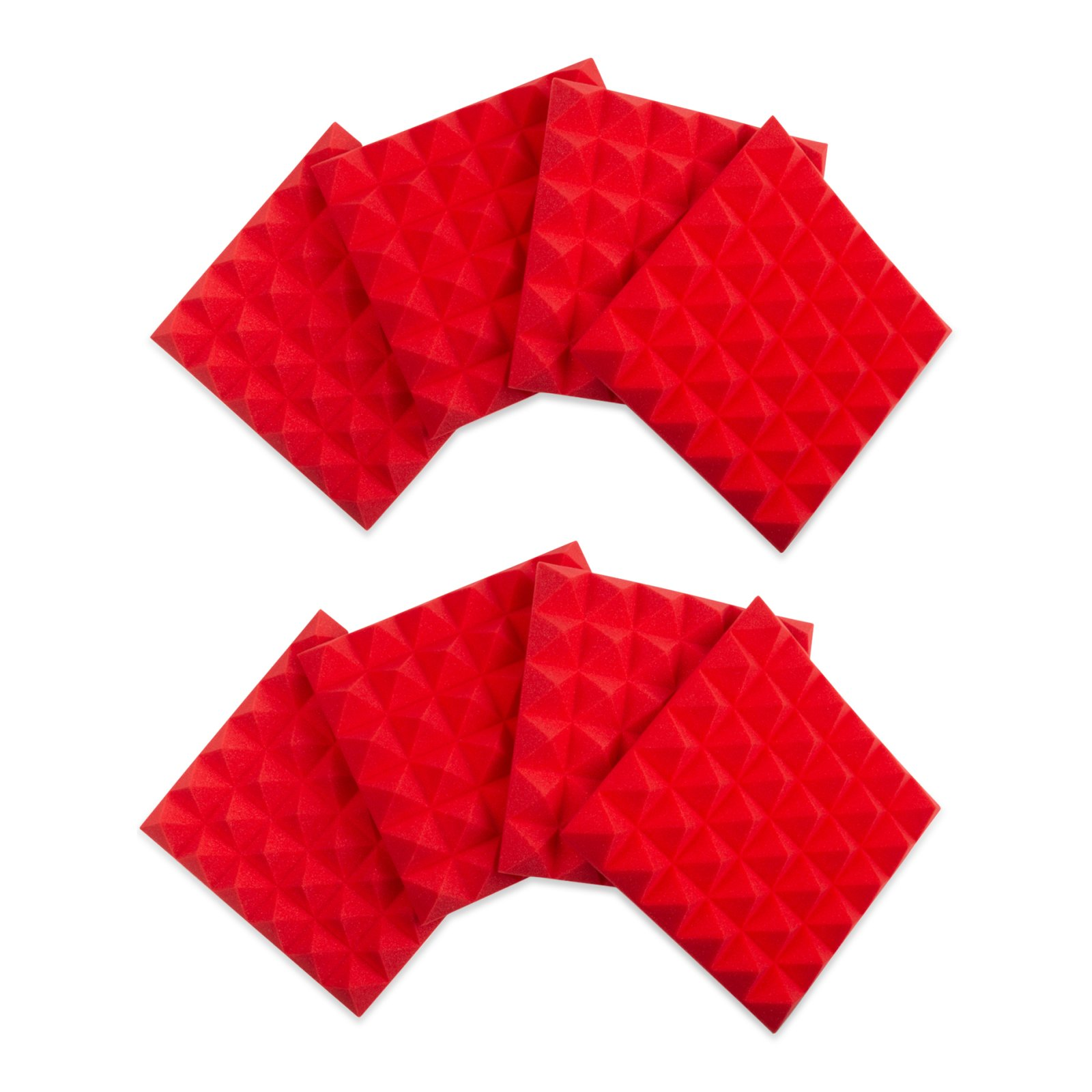 GATOR GFW-ACPNL1212PRED-8PK 8-PACK OF RED 12x12 ACOUSTIC PYRAMID PANEL