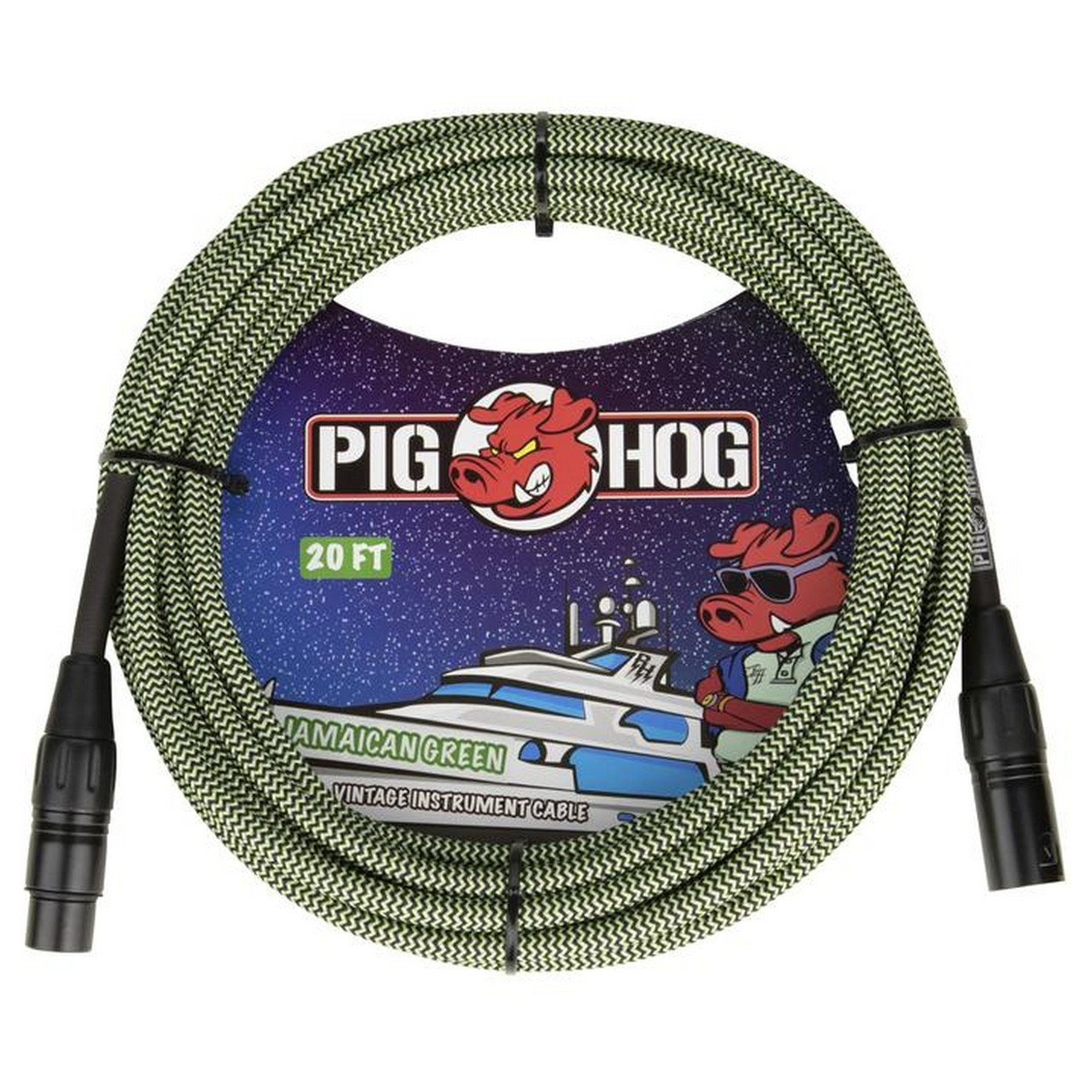 PIG HOG PHM20JGR 20FT  VINTAGE SERIES WOVEN MICROPHONE CABLE, JAMAICAN GREEN