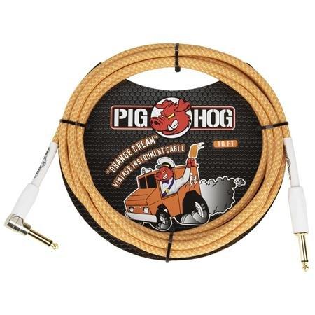 PIG HOG PCH102OCR 10FT 1/4 TO R/A INSTRUMENT CABLE, ORANGE CREME