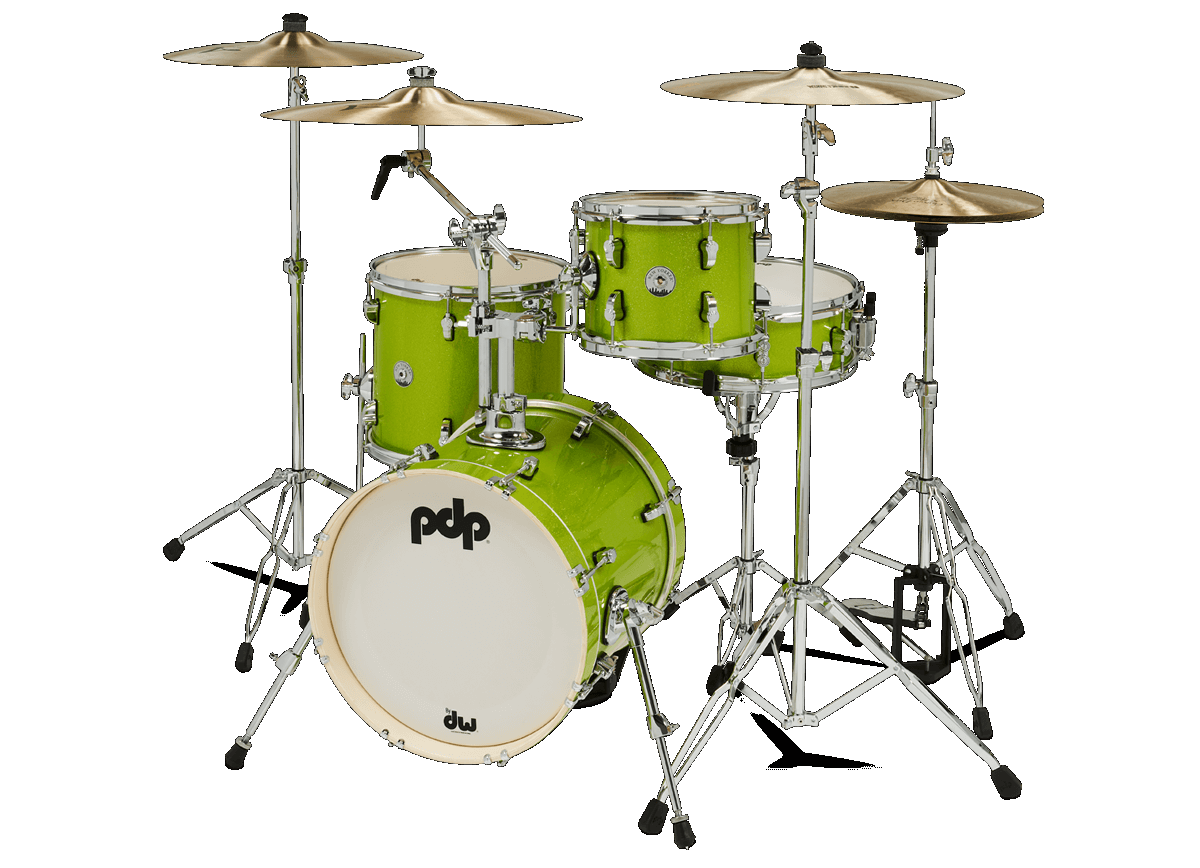 PDP PDNY1604EL NEW YORKER 4-PIECE DRUM KIT, ELECTRIC GREEN SPARKLE