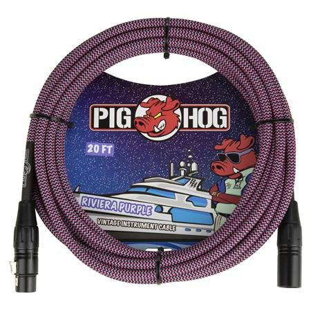 PIG HOG PHM20RPP 20FT  VINTAGE SERIES WOVEN MICROPHONE CABLE, RIVIERA PURPLE