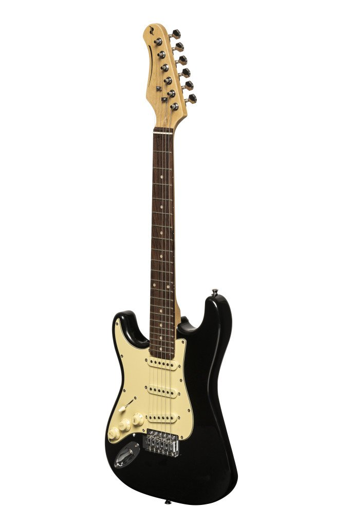 STAGG SES-30 SIZE LEFT HANDED S STYLE ELECTRIC GUITAR BLACK