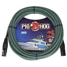 PIG HOG PHM20TAB 20FT VINTAGE SERIES WOVEN MICROPHONE CABLE, TAHITIAN BLUE