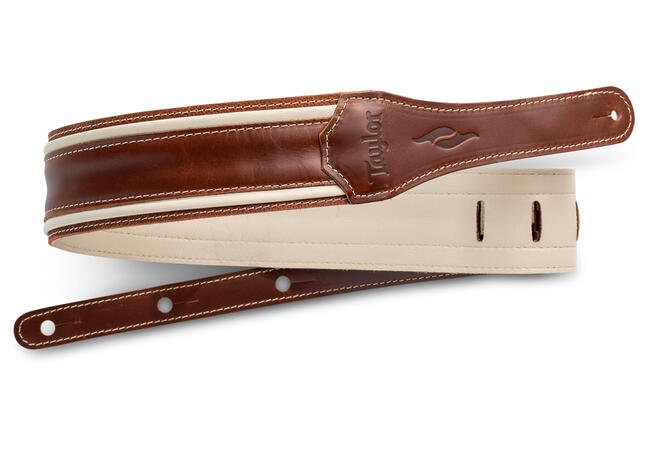 TAYLOR ELEMENT GUITAR STRAP BROWN/CREAM LEATHER 2.5