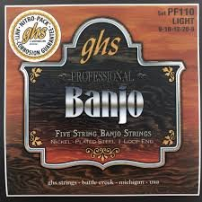 GHS 5 String Professional Banjo Nickel Plated Steel Loop End - Light