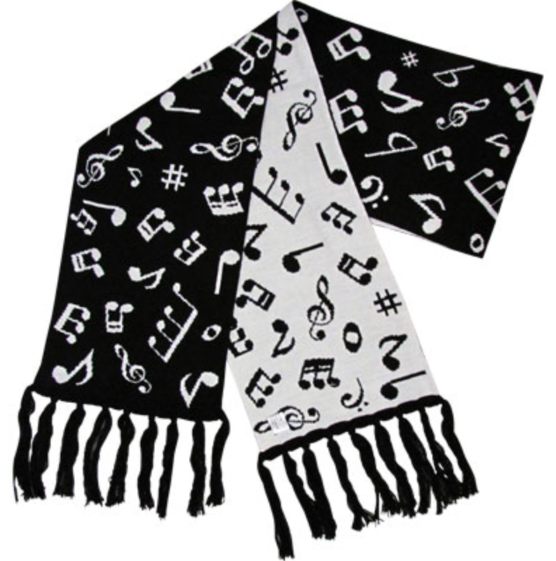 Fine Knit Music Notes Scarf