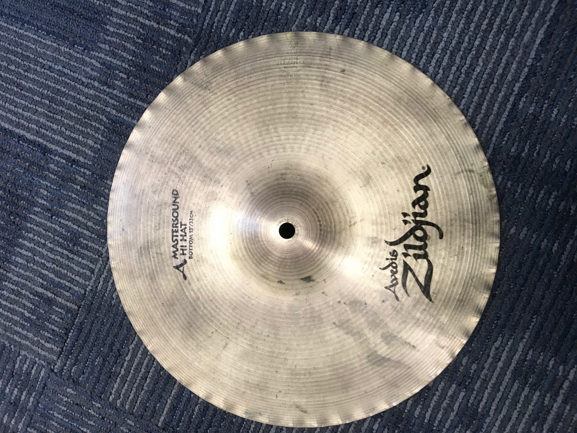 Used Zildjian Mastersound Hihat Bottom WITH NEW NEWBEAT 13 TOP SET