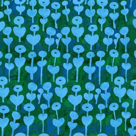 Once Upon A Time - Rayon - Love Flower - Blue Fabric