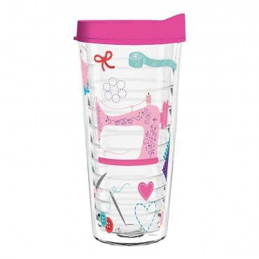 Sewing 22 oz Tumbler with Pink Lid