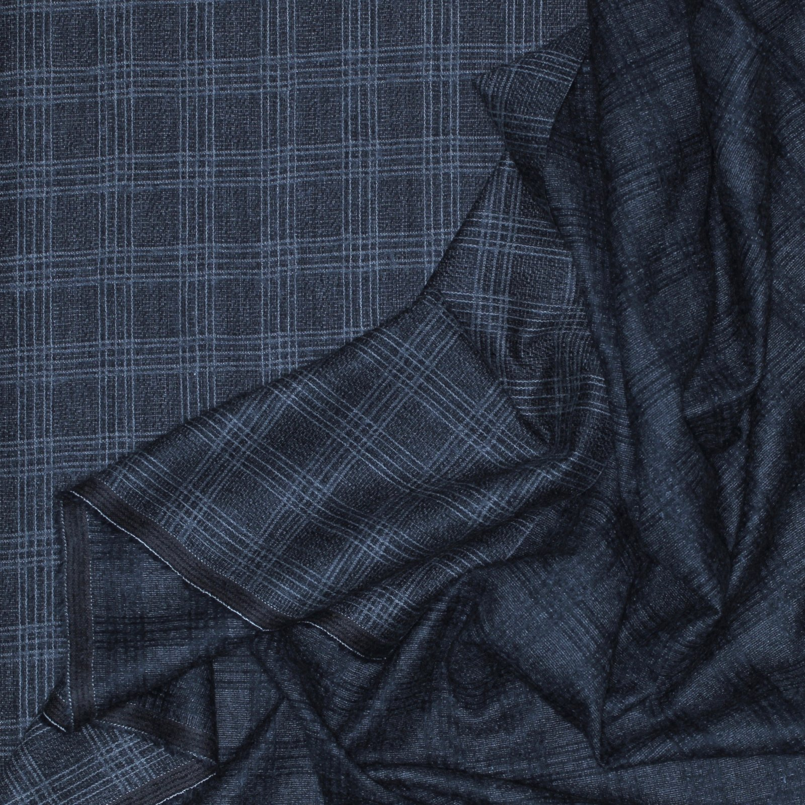 Grey Plaid Italian Wool/Cotton