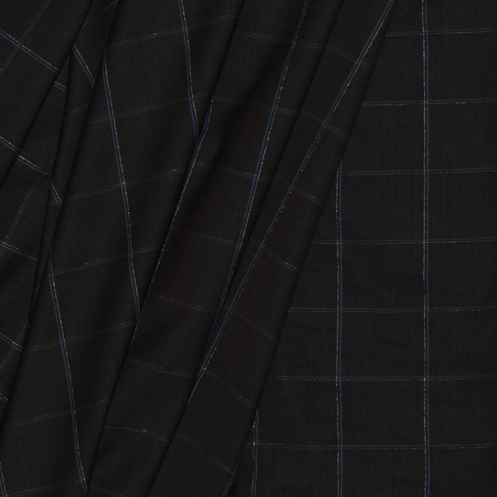 Brown Window Pane Plaid Italian Wool